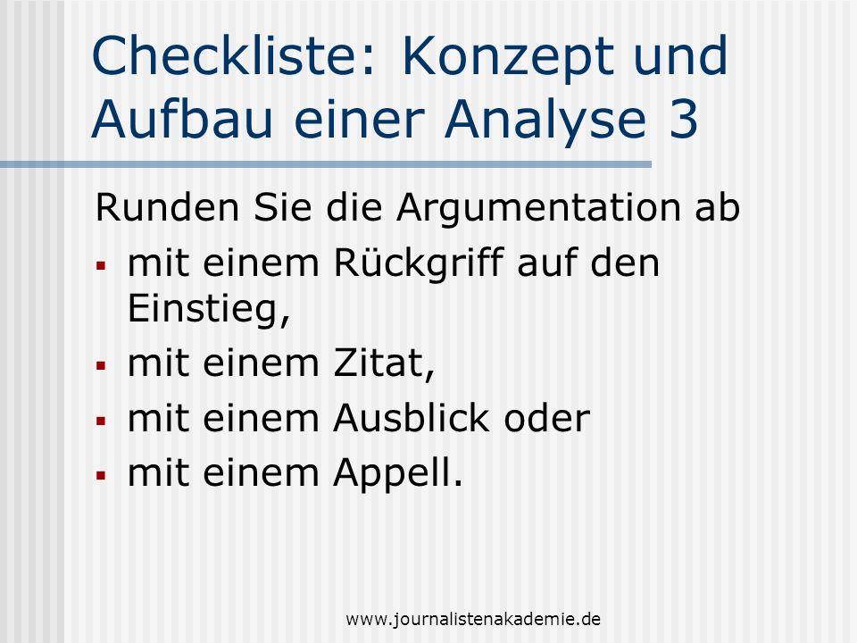 Checkliste: Konzept und Aufbau einer Analyse 3