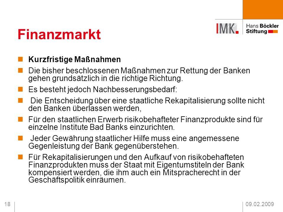 Finanzmarkt Kurzfristige Maßnahmen