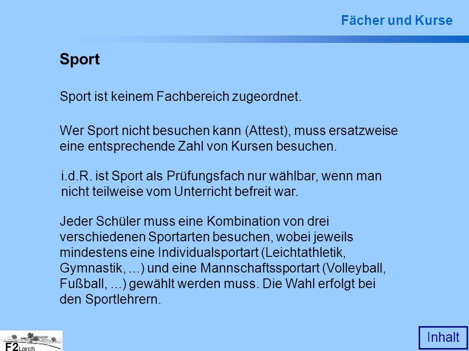 Sport Fächer und Kurse Sport ist keinem Fachbereich zugeordnet.