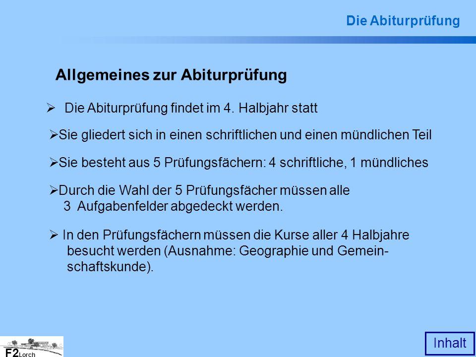 Allgemeines zur Abiturprüfung