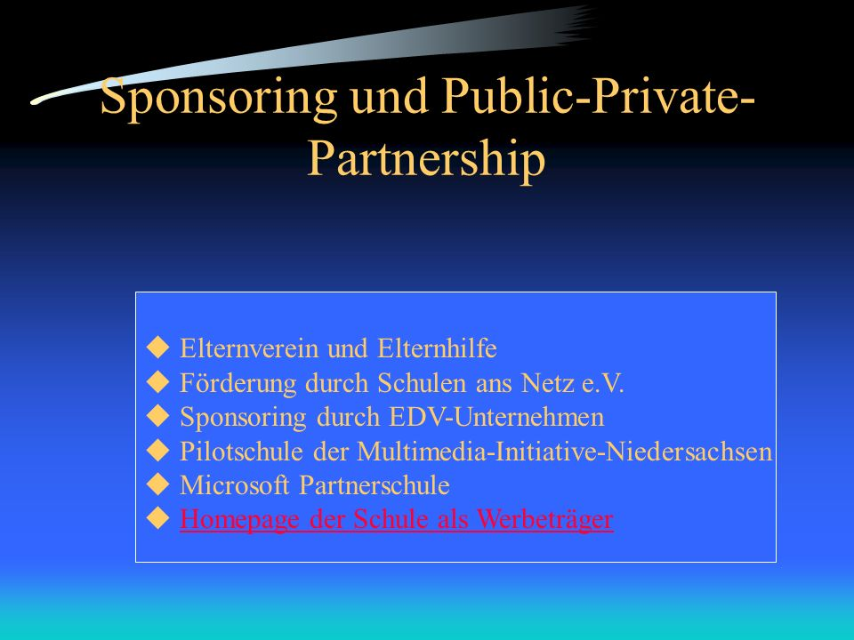 Sponsoring und Public-Private-Partnership
