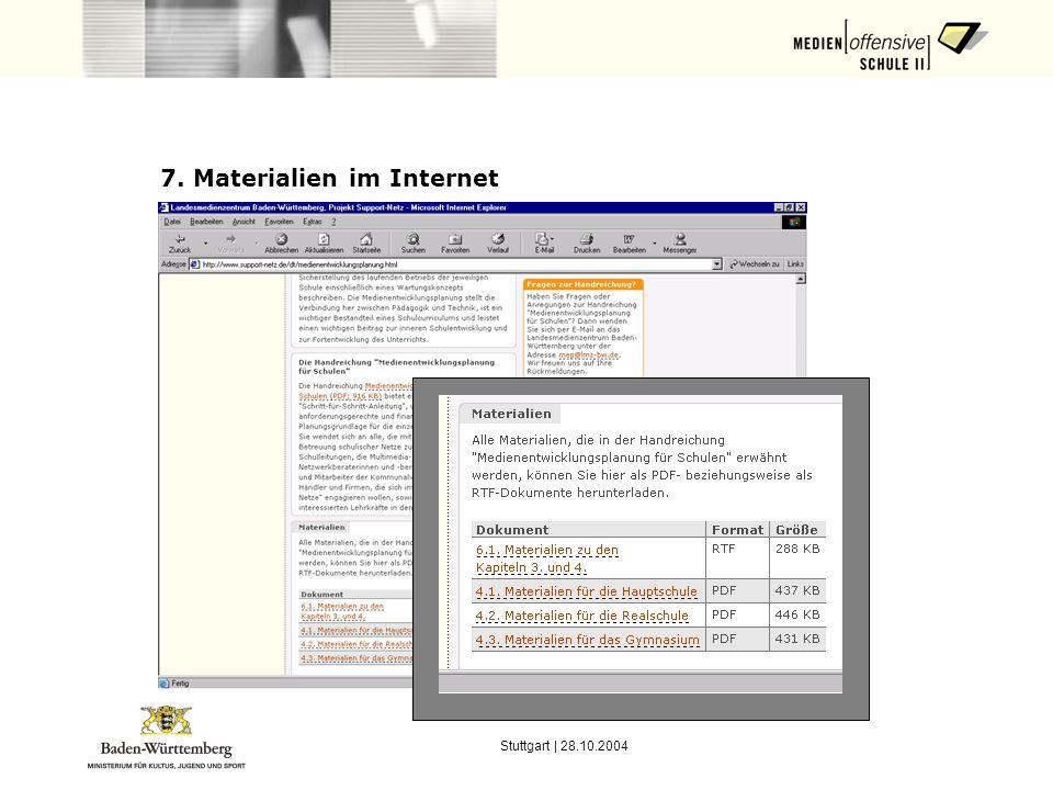 7. Materialien im Internet