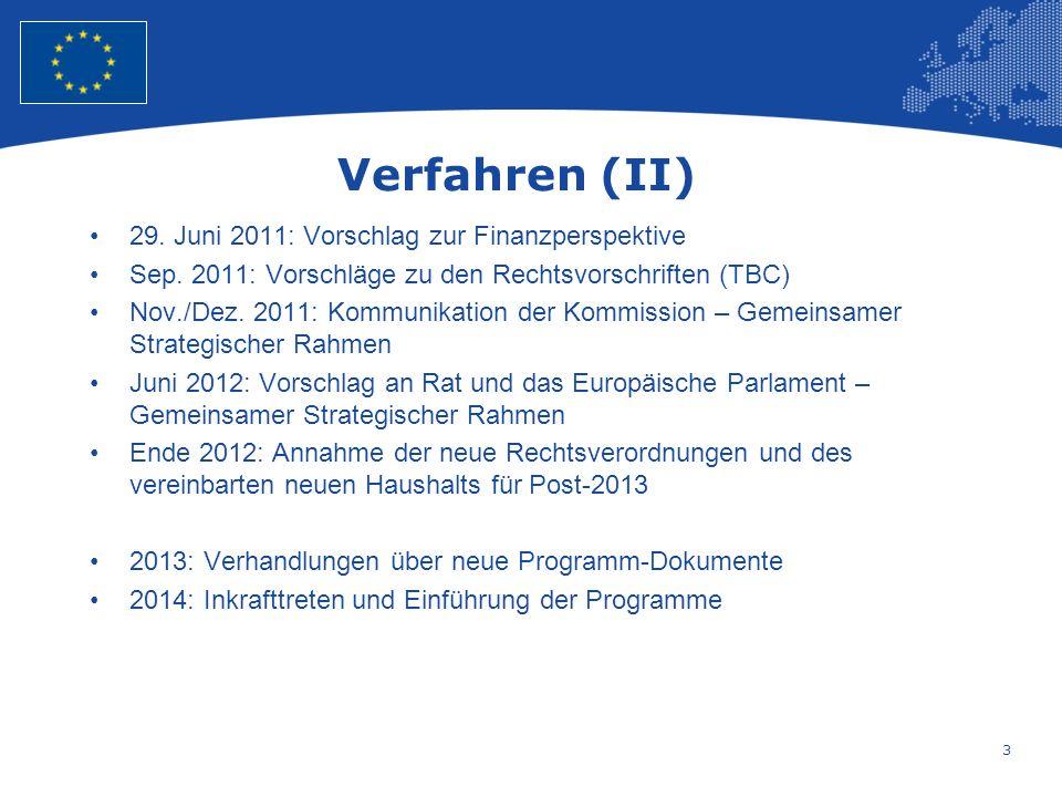 Verfahren (II) 29. Juni 2011: Vorschlag zur Finanzperspektive