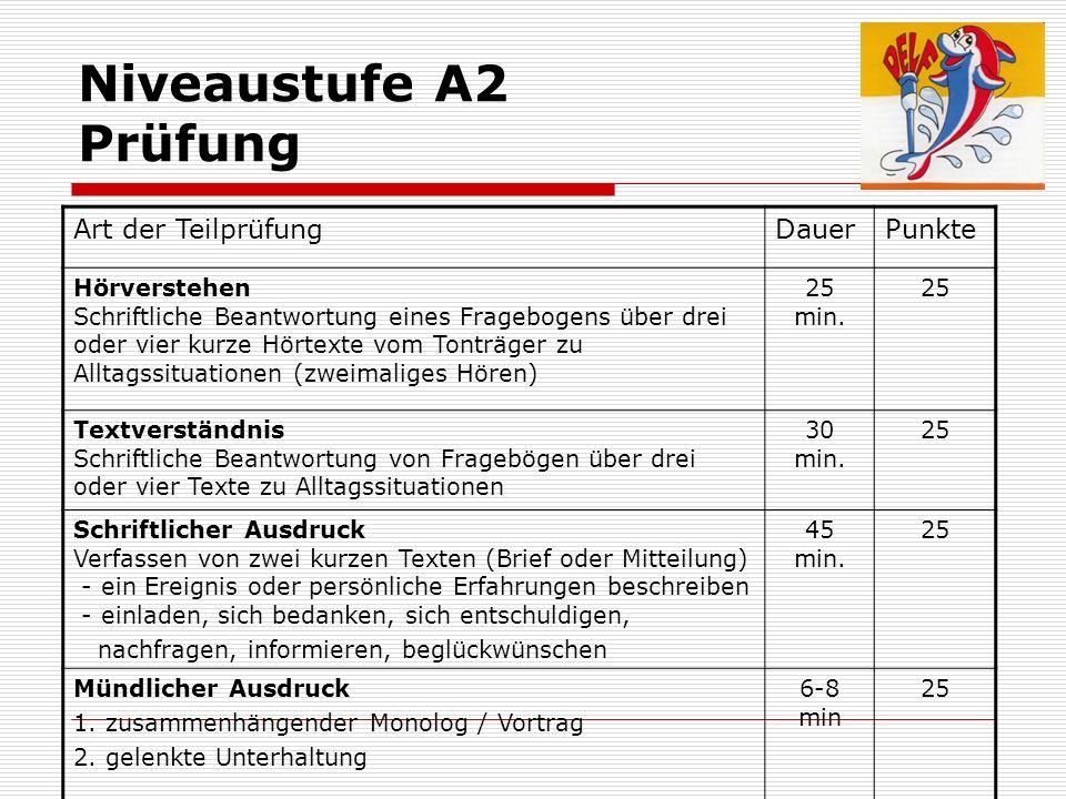 Niveaustufe A2 Prüfung Art der Teilprüfung Dauer Punkte