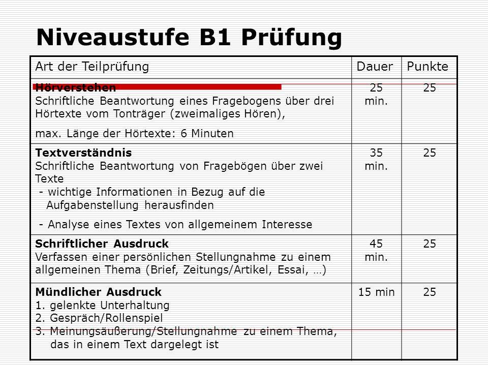 Niveaustufe B1 Prüfung Art der Teilprüfung Dauer Punkte