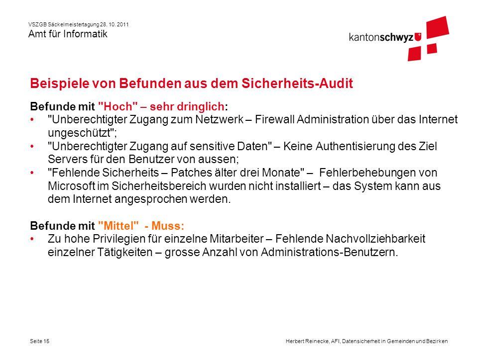 Beispiele von Befunden aus dem Sicherheits-Audit