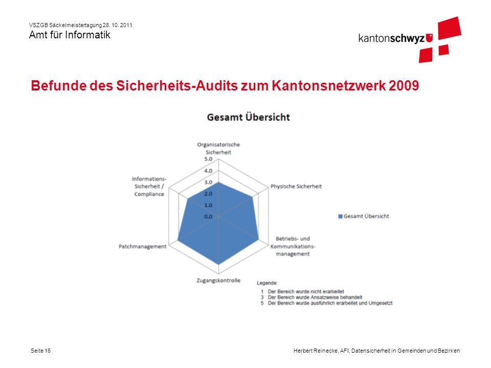 Befunde des Sicherheits-Audits zum Kantonsnetzwerk 2009