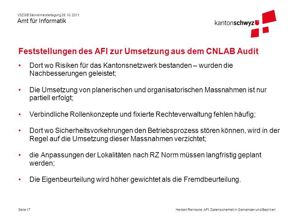 Feststellungen des AFI zur Umsetzung aus dem CNLAB Audit