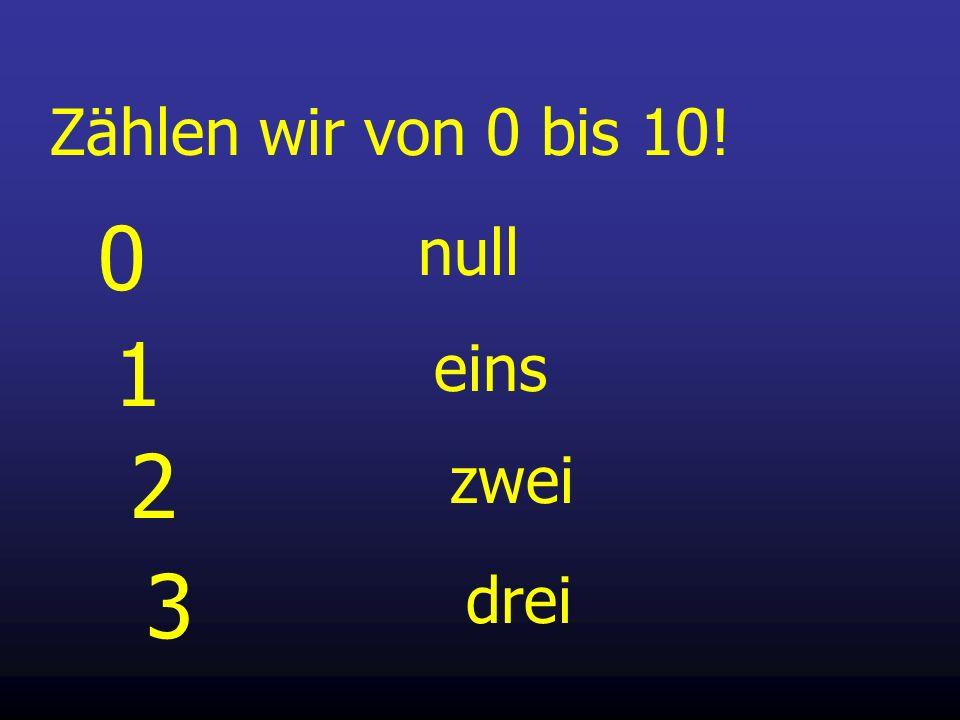 Zählen wir von 0 bis 10! null 1 eins 2 zwei 3 drei