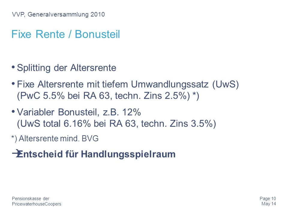Fixe Rente / Bonusteil Splitting der Altersrente