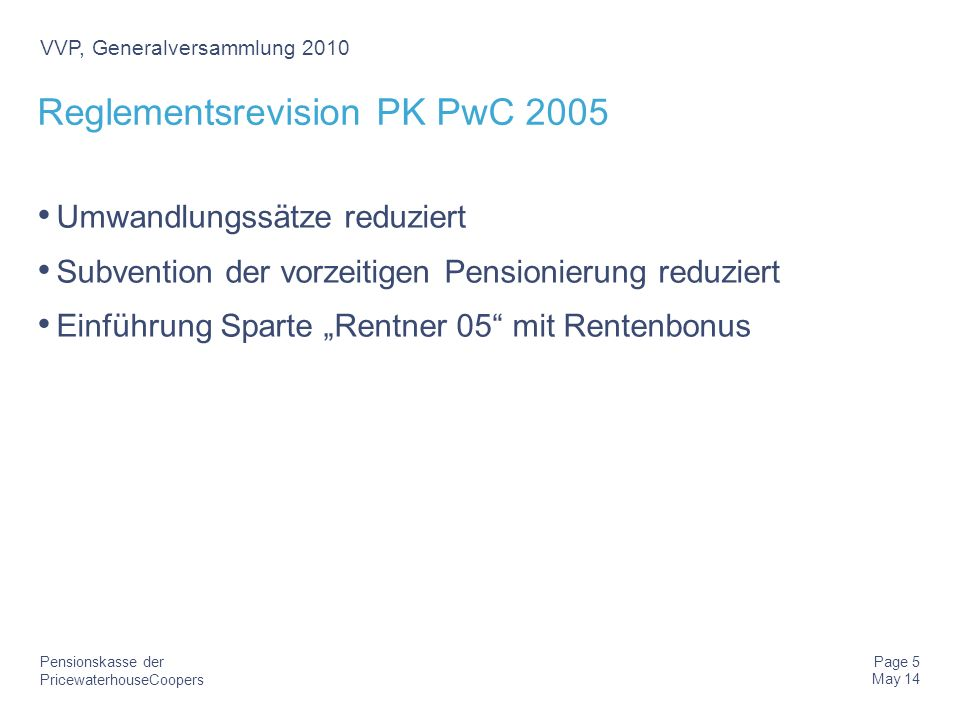 Reglementsrevision PK PwC 2005