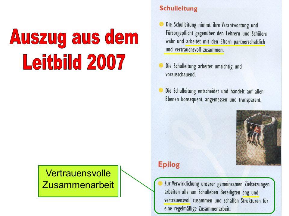 Auszug aus dem Leitbild 2007 Vertrauensvolle Zusammenarbeit