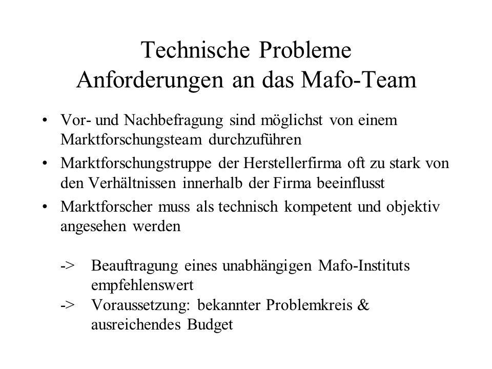 Technische Probleme Anforderungen an das Mafo-Team