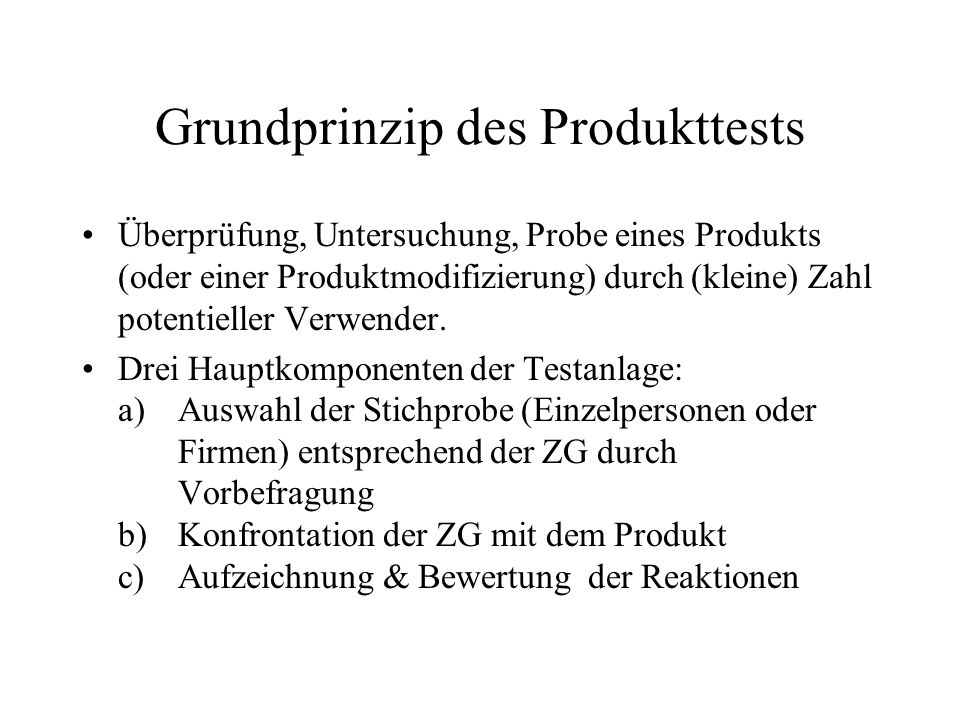 Grundprinzip des Produkttests