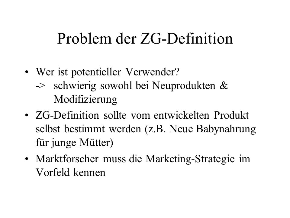 Problem der ZG-Definition
