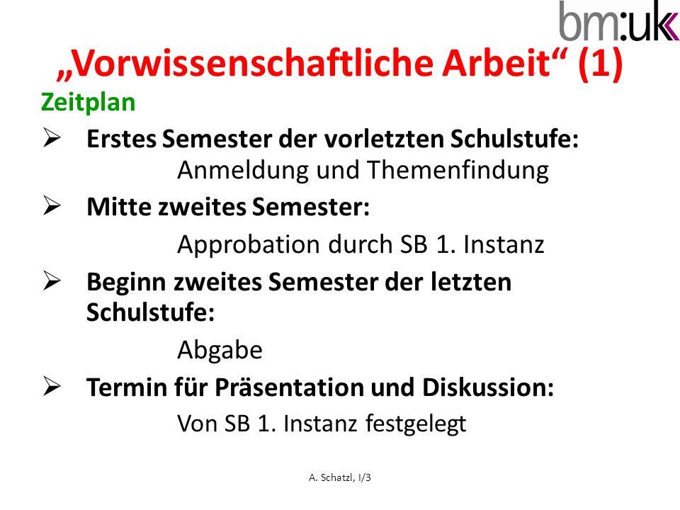 """""""Vorwissenschaftliche Arbeit (1)"""