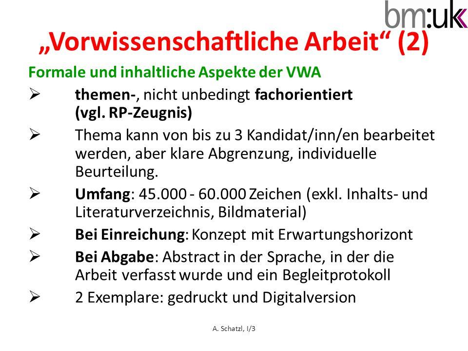 """""""Vorwissenschaftliche Arbeit (2)"""