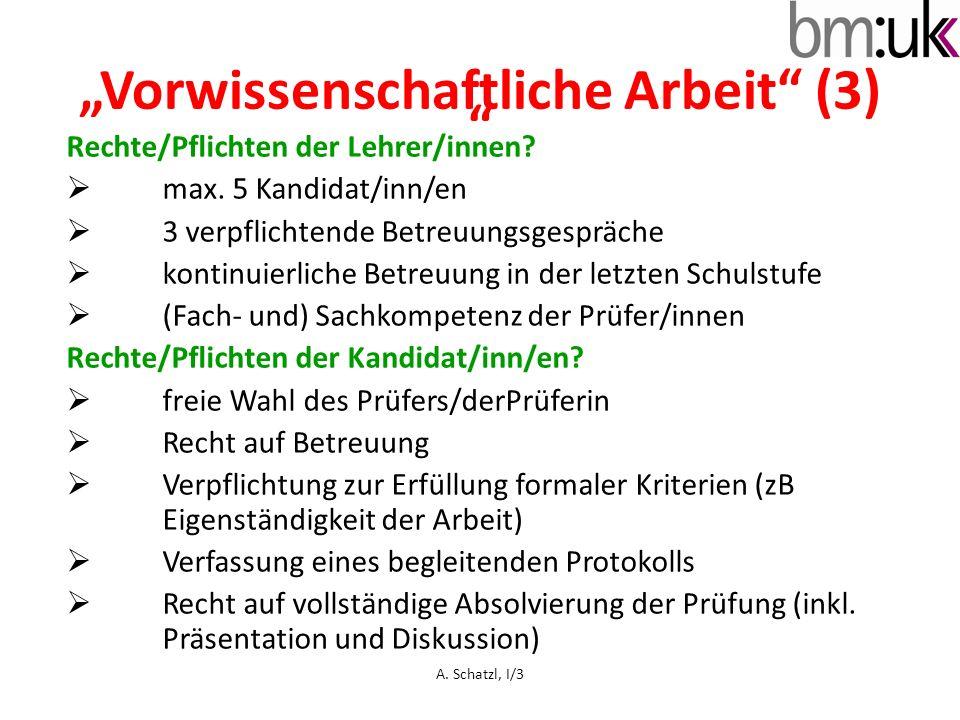 """""""Vorwissenschaftliche Arbeit (3)"""