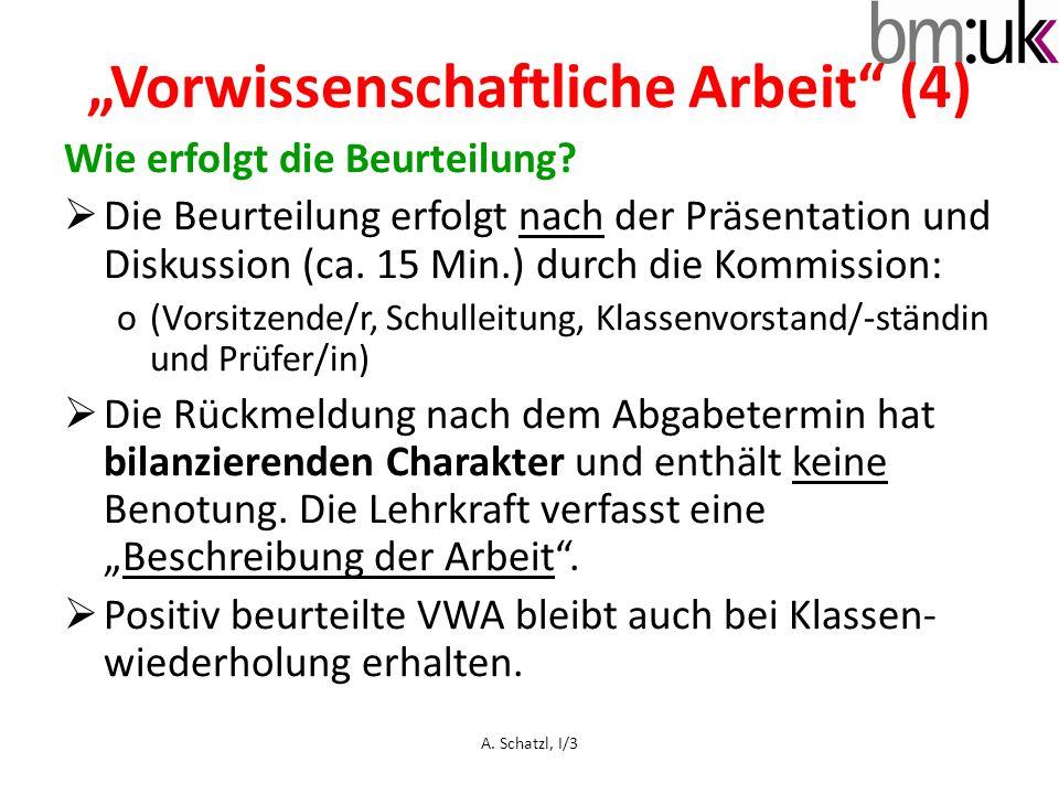 """""""Vorwissenschaftliche Arbeit (4)"""