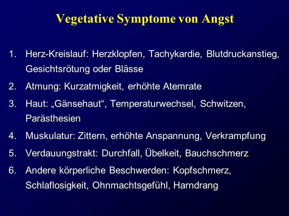 Vegetative Symptome von Angst