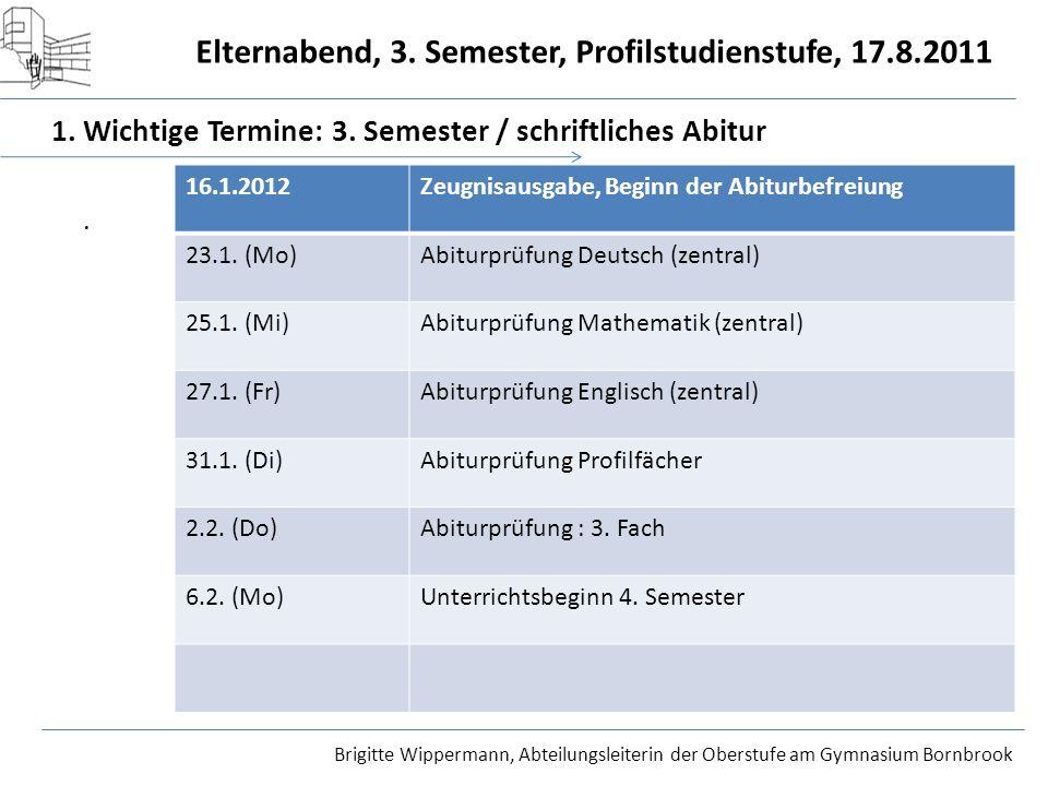 1. Wichtige Termine: 3. Semester / schriftliches Abitur