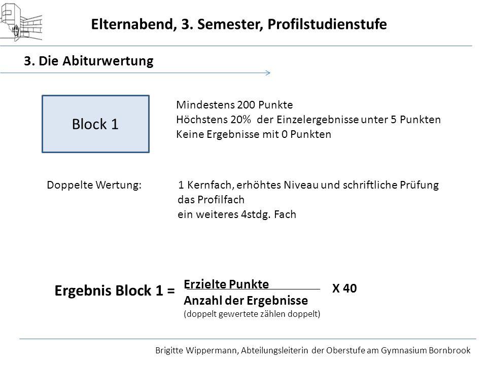 Block 1 Ergebnis Block 1 = 3. Die Abiturwertung Erzielte Punkte