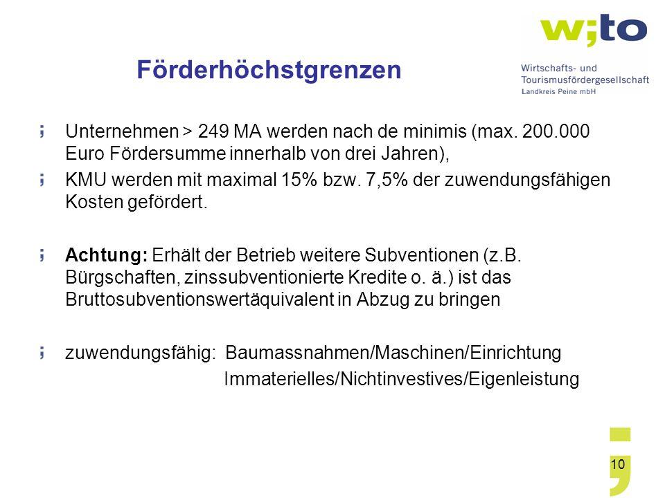 Förderhöchstgrenzen Unternehmen > 249 MA werden nach de minimis (max. 200.000 Euro Fördersumme innerhalb von drei Jahren),