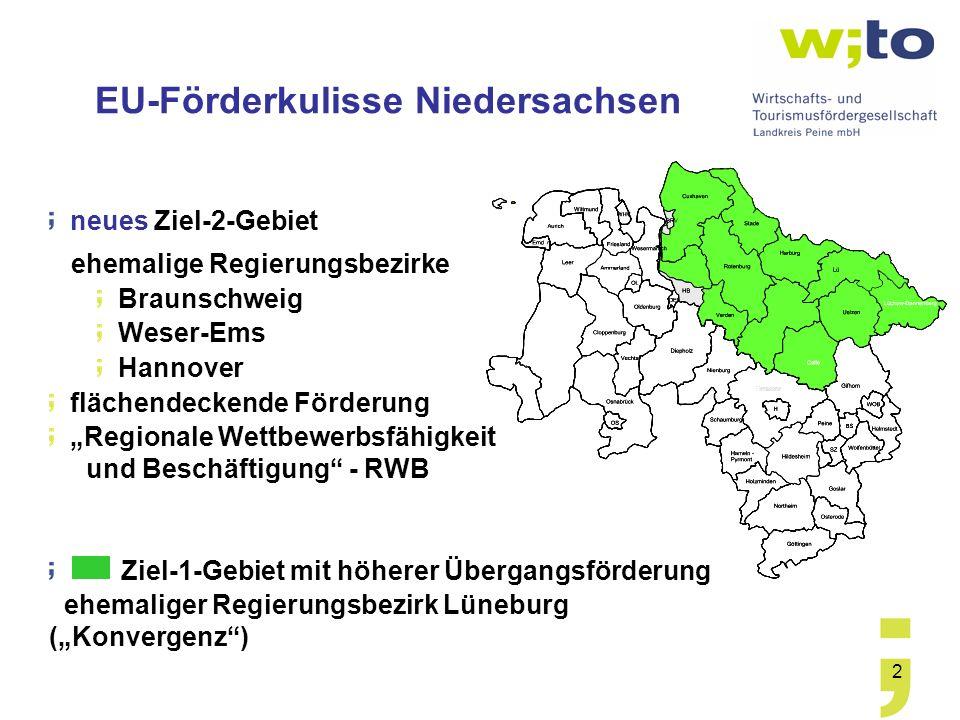 EU-Förderkulisse Niedersachsen