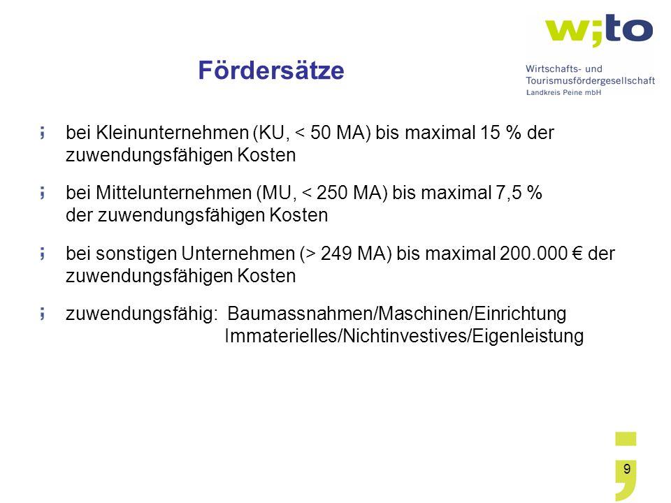 Fördersätze bei Kleinunternehmen (KU, < 50 MA) bis maximal 15 % der zuwendungsfähigen Kosten.