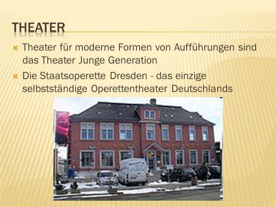 Theater Theater für moderne Formen von Aufführungen sind das Theater Junge Generation.