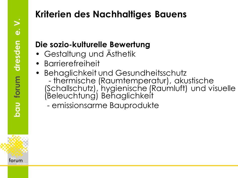 Kriterien des Nachhaltiges Bauens