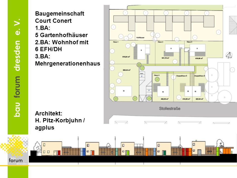 Baugemeinschaft Court Conert. 1.BA: 5 Gartenhofhäuser. 2.BA: Wohnhof mit. 6 EFH/DH. 3.BA: Mehrgenerationenhaus.