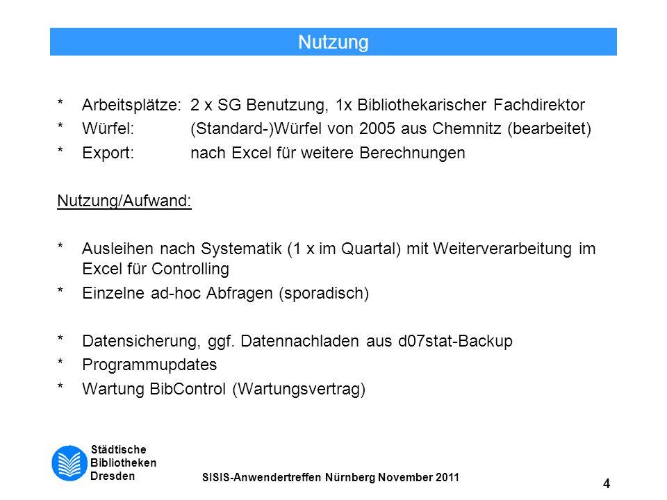 Nutzung * Arbeitsplätze: 2 x SG Benutzung, 1x Bibliothekarischer Fachdirektor. * Würfel: (Standard-)Würfel von 2005 aus Chemnitz (bearbeitet)