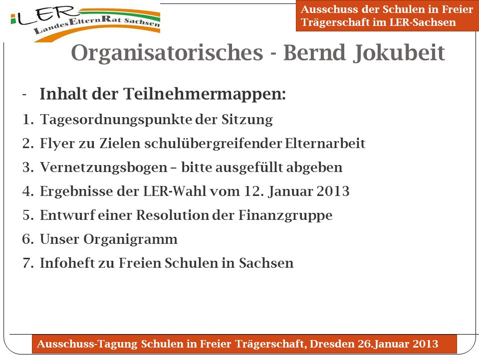 Organisatorisches - Bernd Jokubeit