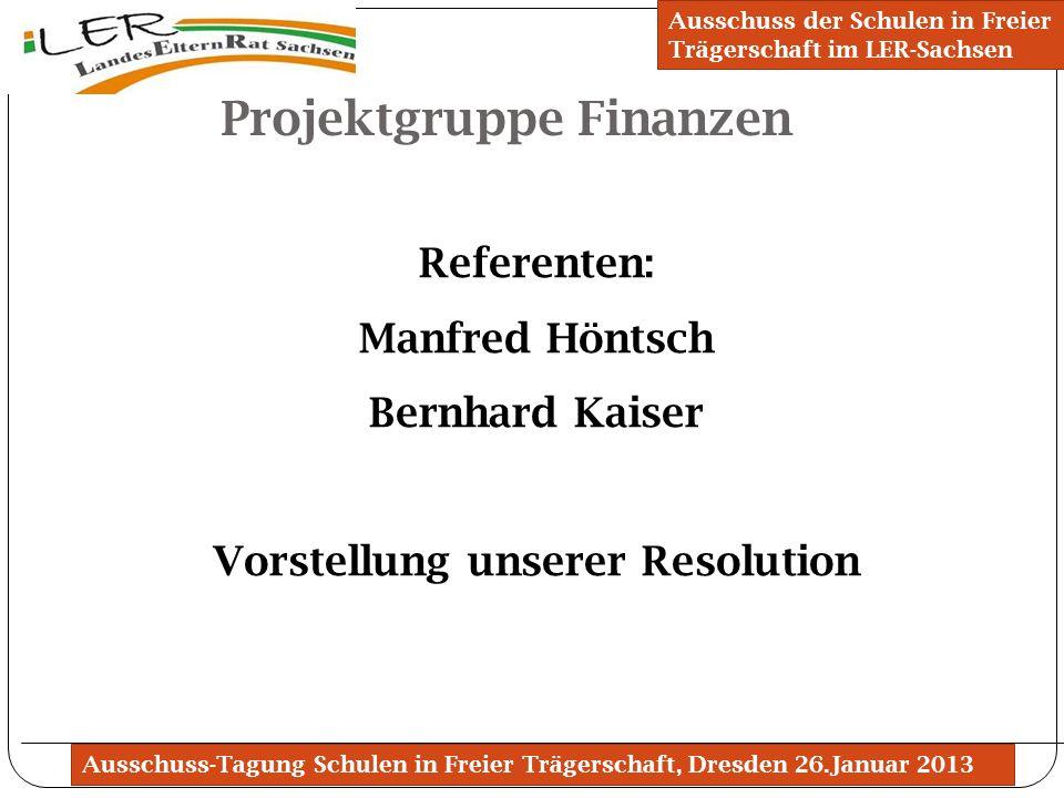 Projektgruppe Finanzen Vorstellung unserer Resolution