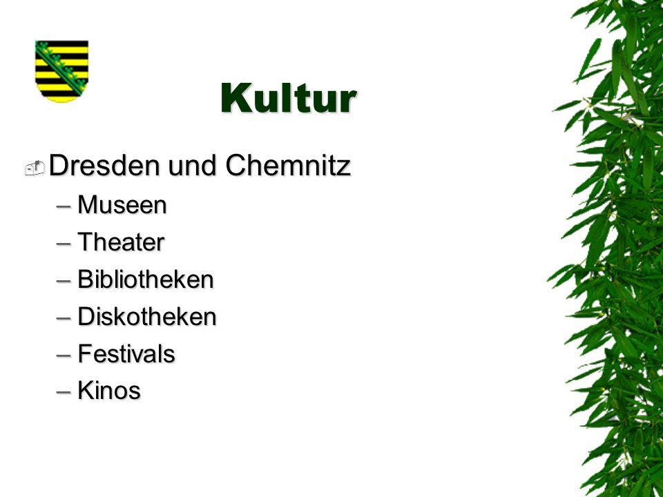 Kultur Dresden und Chemnitz Museen Theater Bibliotheken Diskotheken