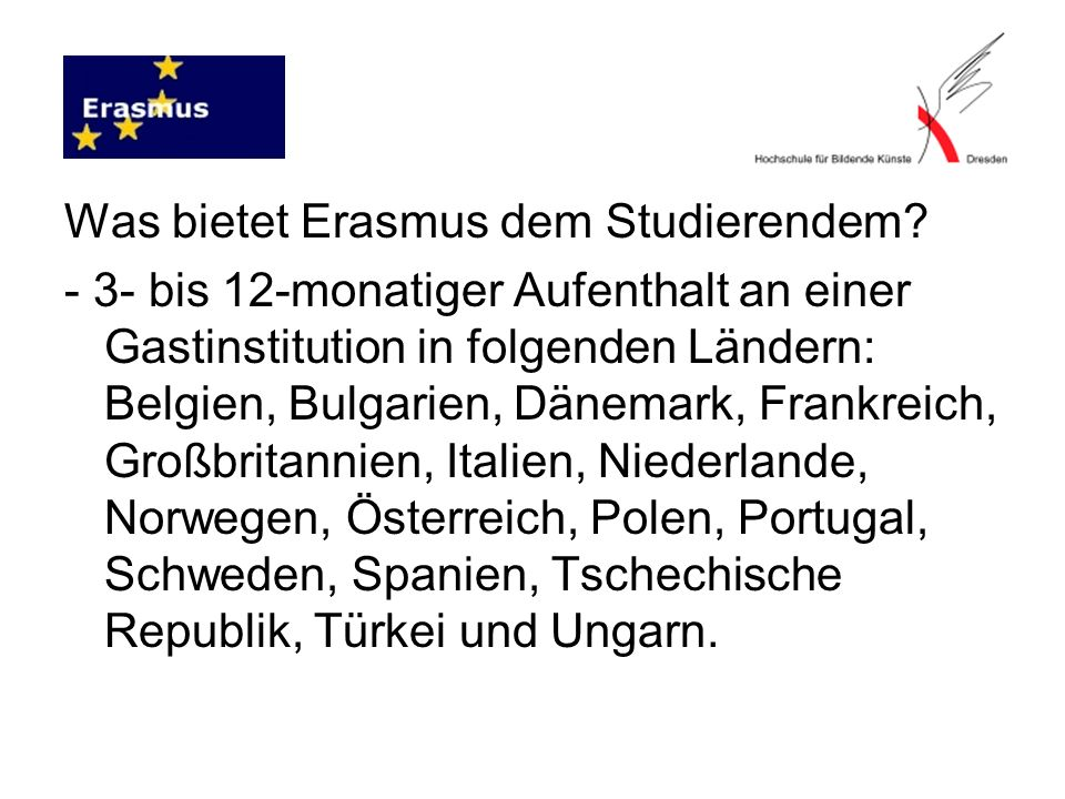 Was bietet Erasmus dem Studierendem