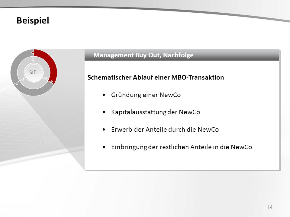 Beispiel Management Buy Out, Nachfolge