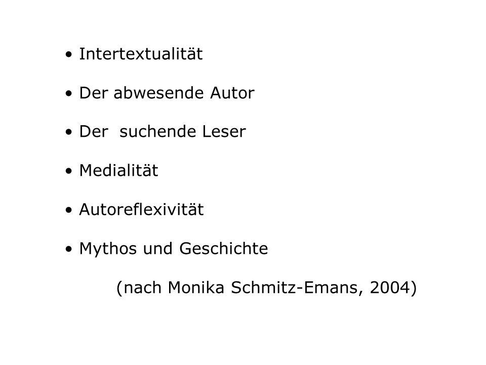 • Intertextualität • Der abwesende Autor. • Der suchende Leser. • Medialität. • Autoreflexivität.