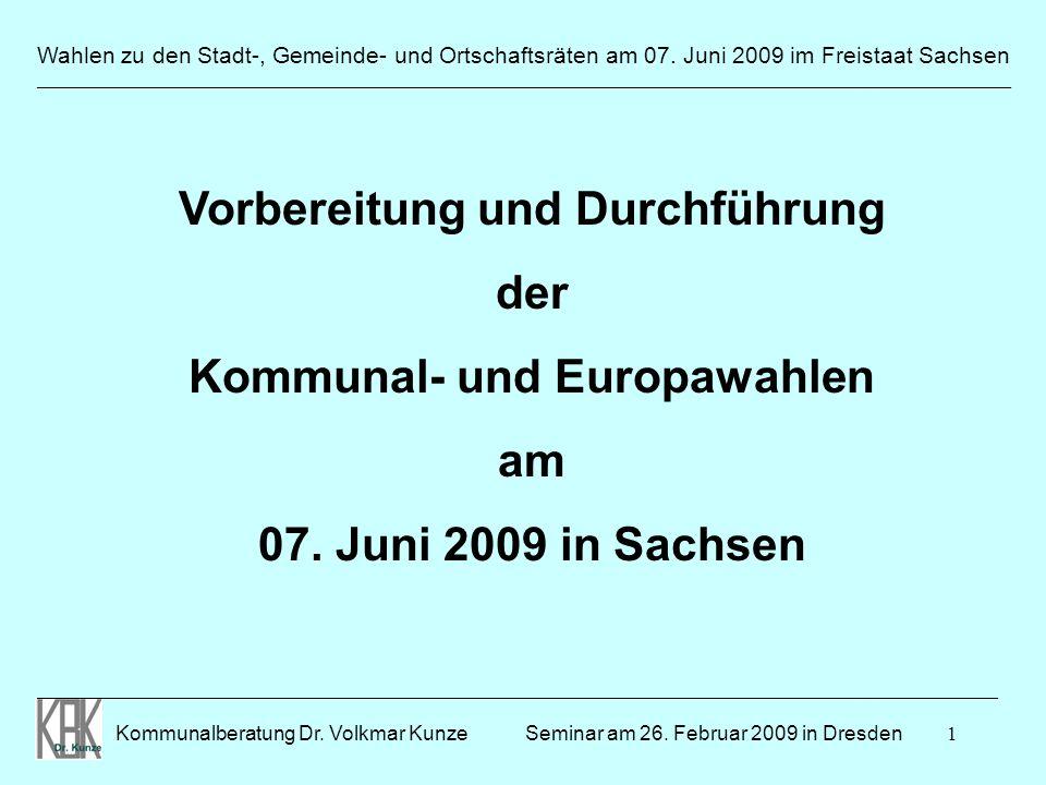 Vorbereitung und Durchführung Kommunal- und Europawahlen