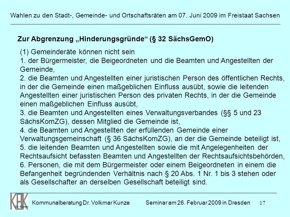 """Zur Abgrenzung """"Hinderungsgründe (§ 32 SächsGemO)"""