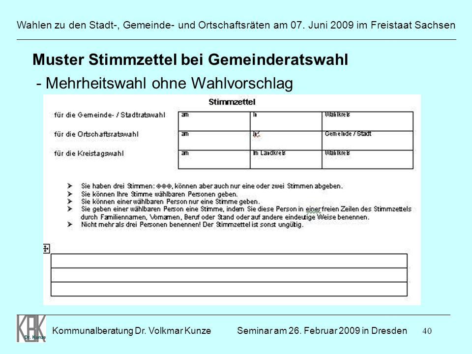 Muster Stimmzettel bei Gemeinderatswahl