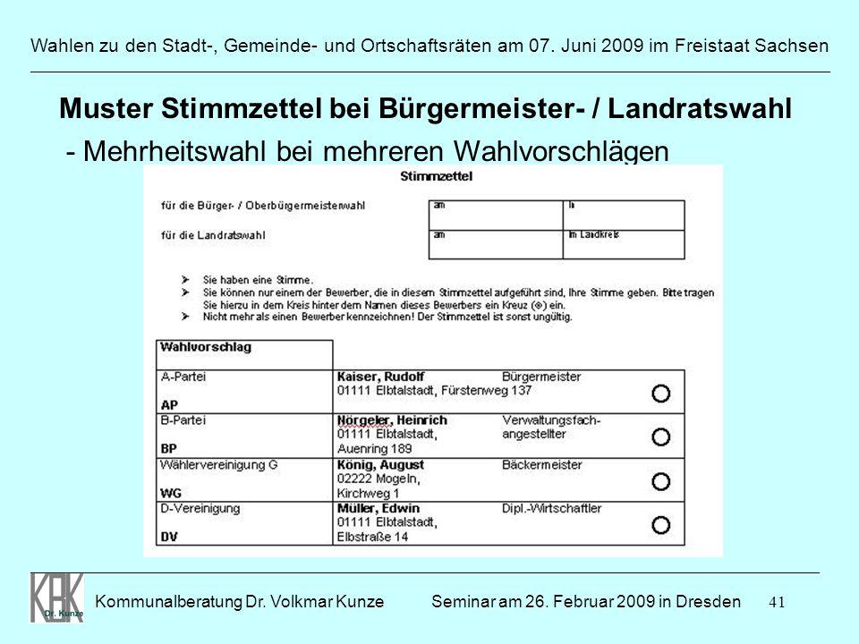 Muster Stimmzettel bei Bürgermeister- / Landratswahl