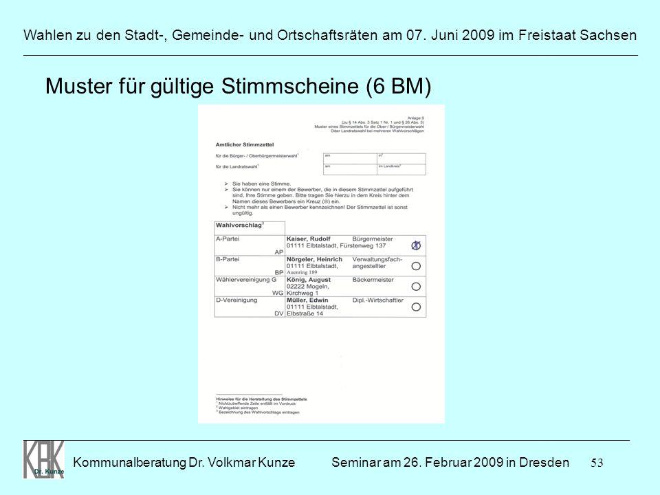 Muster für gültige Stimmscheine (6 BM)