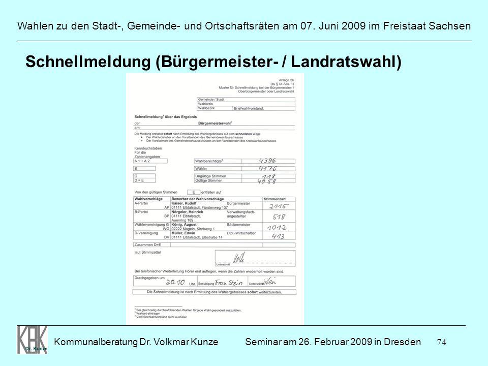 Schnellmeldung (Bürgermeister- / Landratswahl)