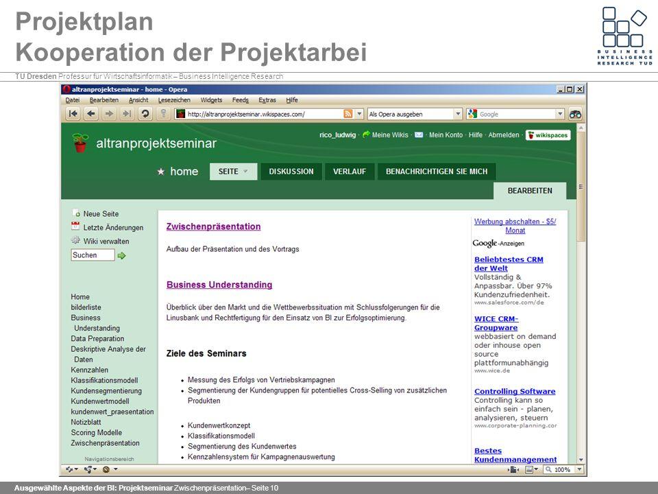 Projektplan Kooperation der Projektarbei
