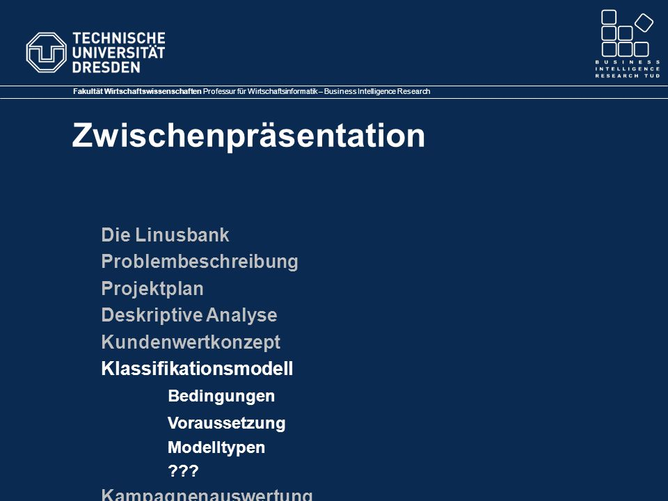 Klassifikationsmodell Bedingungen Voraussetzung