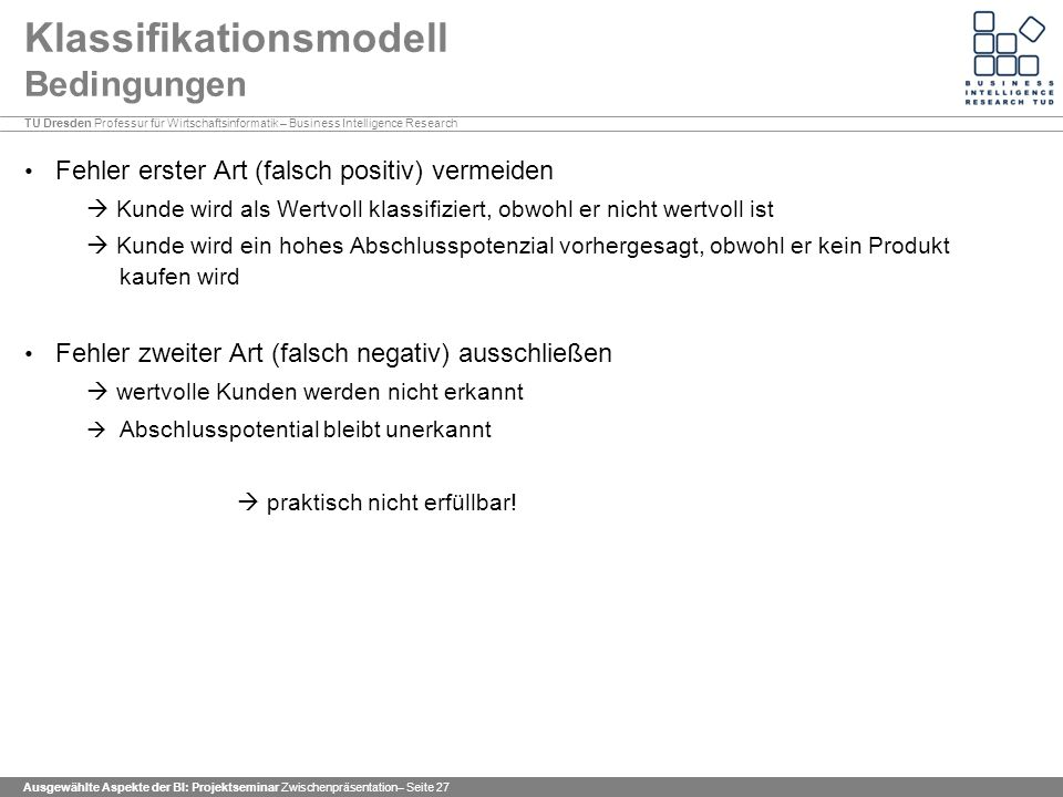 Klassifikationsmodell Bedingungen
