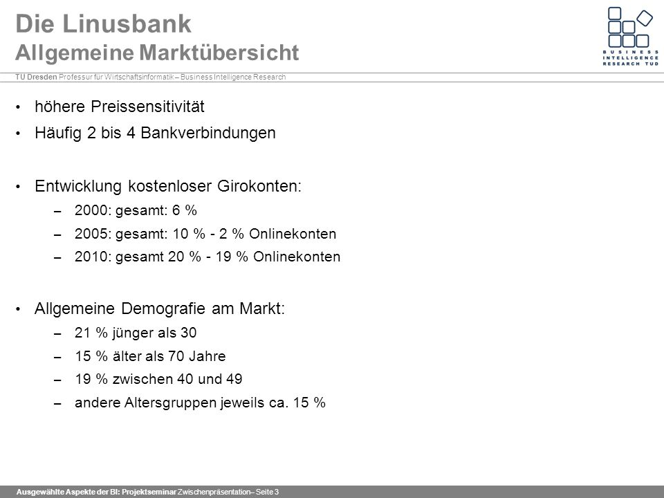 Die Linusbank Allgemeine Marktübersicht