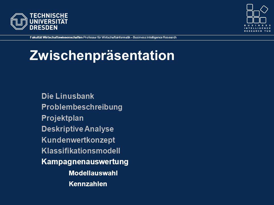 Die Linusbank Problembeschreibung. Projektplan. Deskriptive Analyse. Kundenwertkonzept. Klassifikationsmodell.